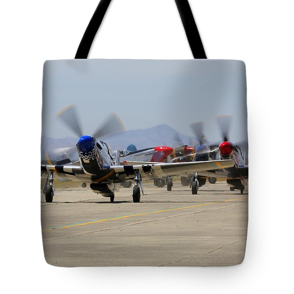 Mustangs Taxi For Takeoff At Hollister Tote Bag