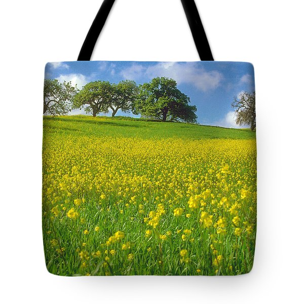 Tote Bag featuring the photograph Mustard Field by Mark Greenberg