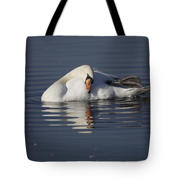Mute Swan Resting In Rippling Water Tote Bag