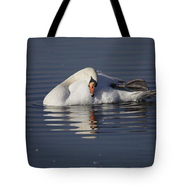 Mute Swan Resting In Rippling Water Tote Bag