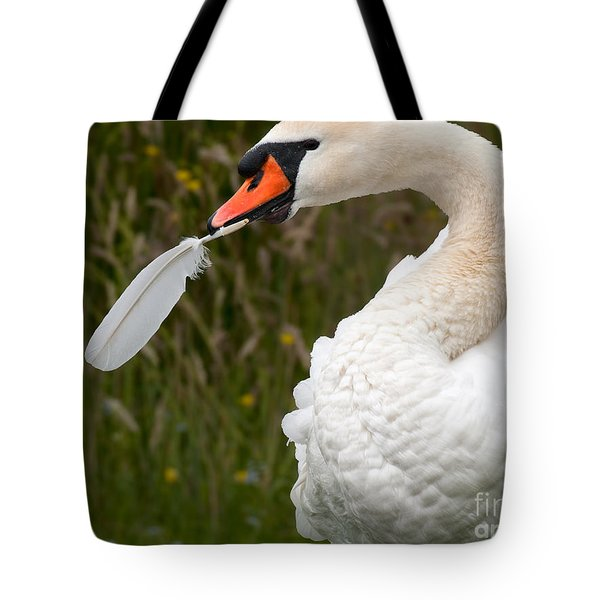 Mute Swan With Feather Tote Bag