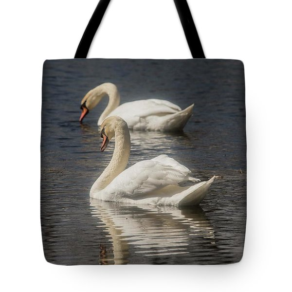 Tote Bag featuring the photograph Mute Swans by David Bearden