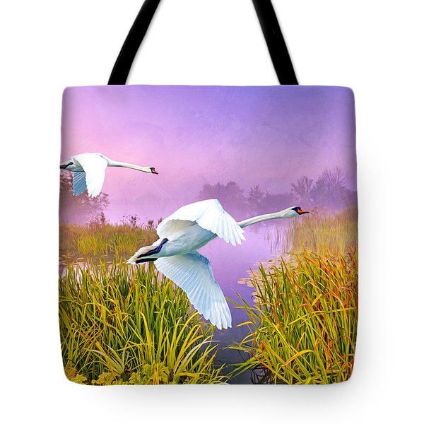 Mute Swans Over Marshes Tote Bag