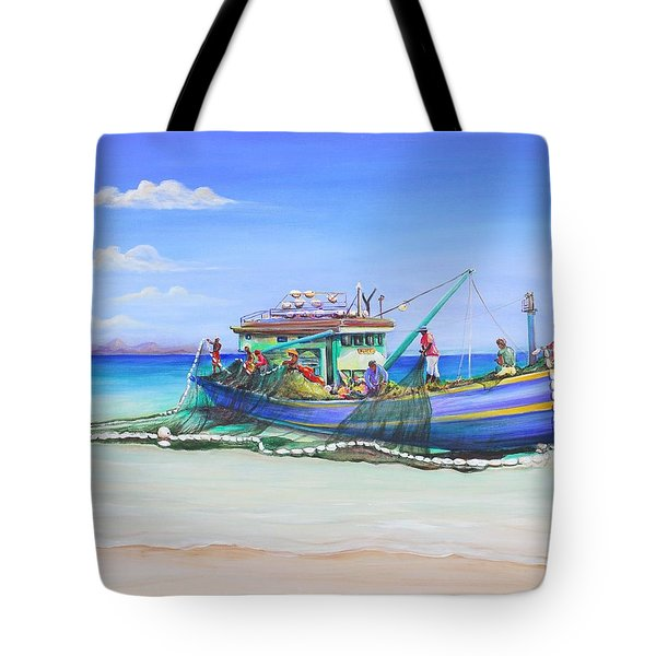 Tote Bag featuring the painting Mv Alice Mary by Patricia Piffath