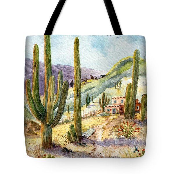 Tote Bag featuring the painting My Adobe Hacienda by Marilyn Smith
