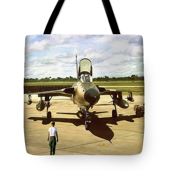 Tote Bag featuring the digital art My Baby F-105 by Peter Chilelli