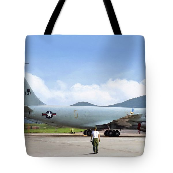 Tote Bag featuring the digital art My Baby Kc-135 by Peter Chilelli