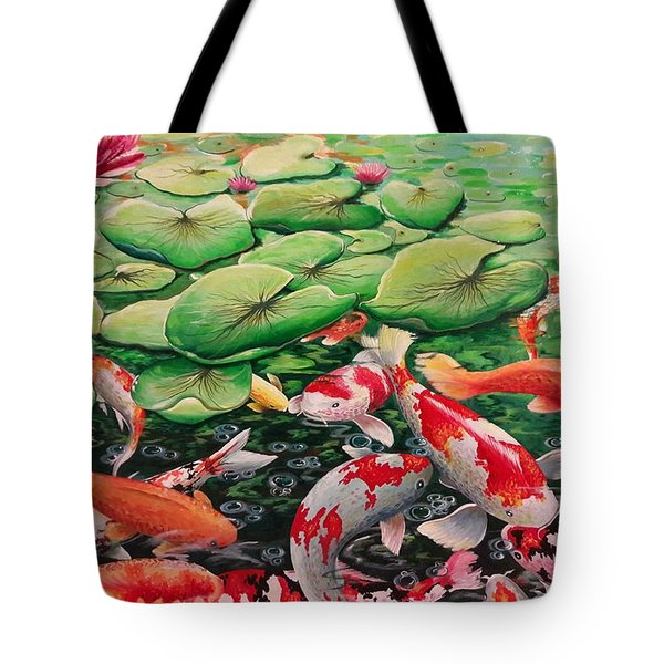 My Backyard Pond Tote Bag