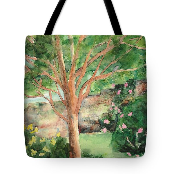 Tote Bag featuring the painting My Backyard by Vicki  Housel