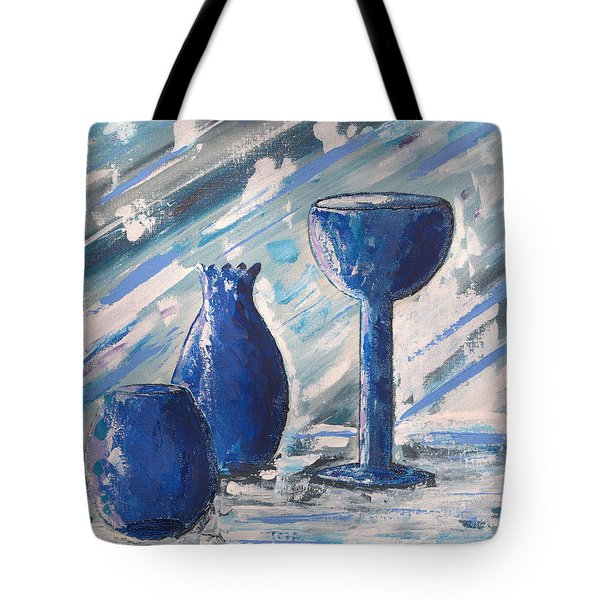 Tote Bag featuring the painting My Blue Vases by J R Seymour