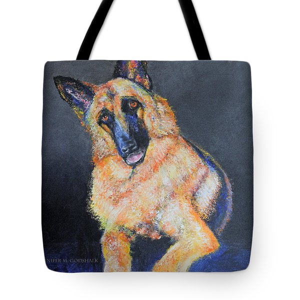 My Dog Jake German Shepherd Painting Tote Bag