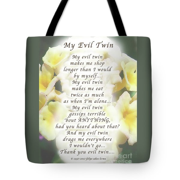 My Evil Twin Greeting Card And Poster Tote Bag