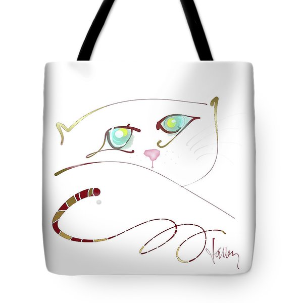 Tote Bag featuring the painting My Eyes Are Up Here by Larry Talley