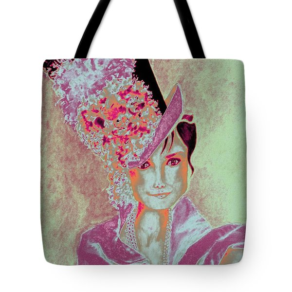 My Fair Audrey -- In Raspberry And Orange Tote Bag