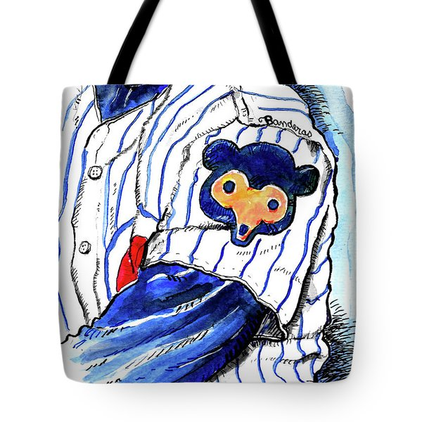 Tote Bag featuring the painting My Favorite Chicago Cub by Terry Banderas
