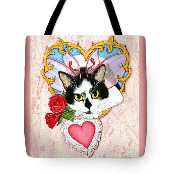 Tote Bag featuring the painting My Feline Valentine Tuxedo Cat by Carrie Hawks
