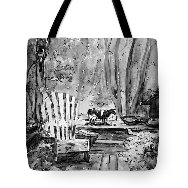 My Front Deck In Bw Tote Bag by Gretchen Allen