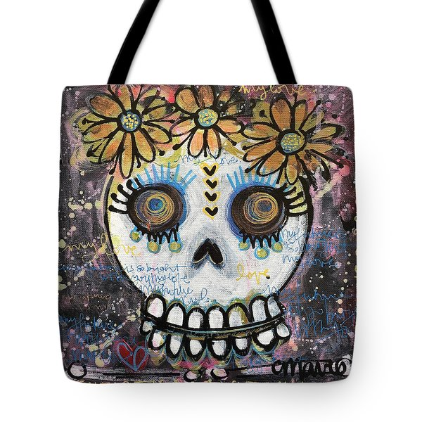 Tote Bag featuring the painting My Future Is So Bright With You by Laurie Maves ART