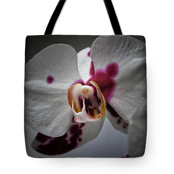 Tote Bag featuring the photograph My Growling Dragon Orchid. by Karen Stahlros