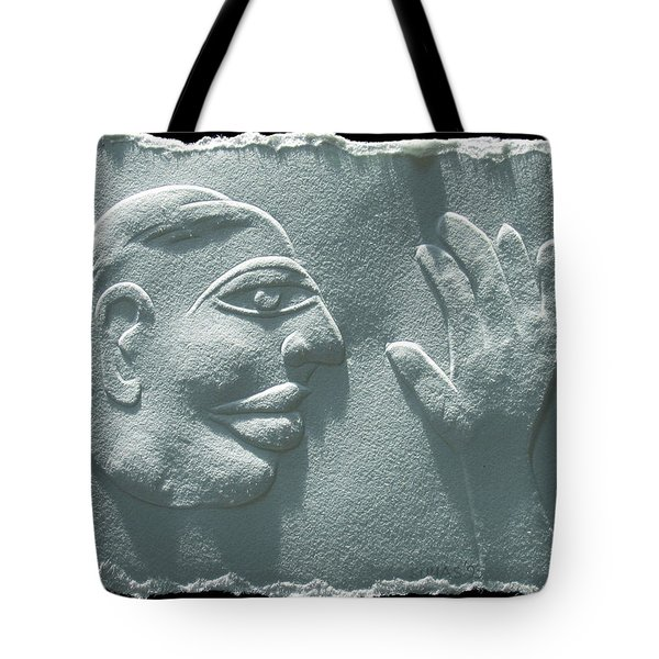 Tote Bag featuring the relief My Hand by Suhas Tavkar