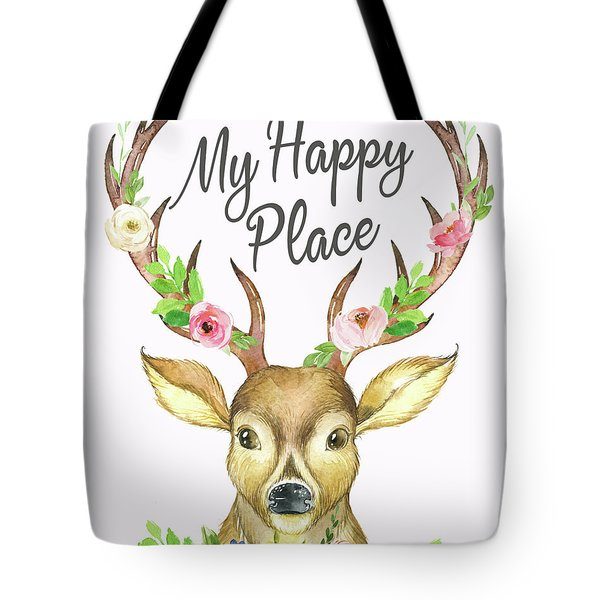 My Happy Place Woodland Boho Deer Tote Bag