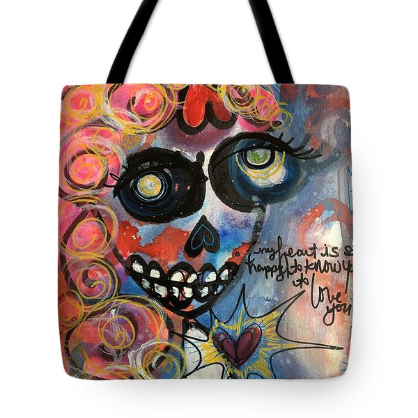 My Heart Is So Happy To Know You Tote Bag by Laurie Maves ART