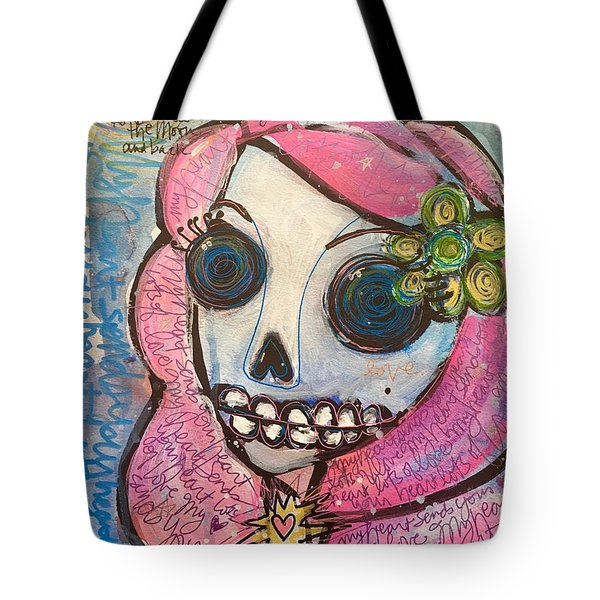 My Heart Sends Your Heart Lots Of Love Tote Bag by Laurie Maves ART