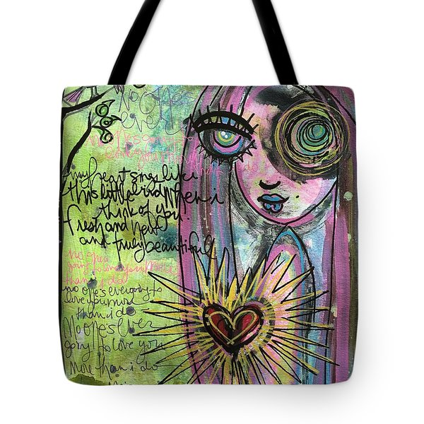 My Heart Sings Like This Little Bird Tote Bag by Laurie Maves ART