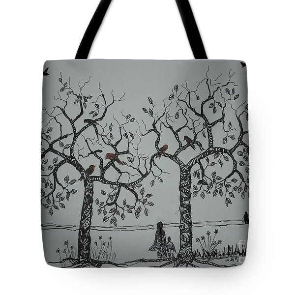 My House Is On That Side Tote Bag by Usha Rai