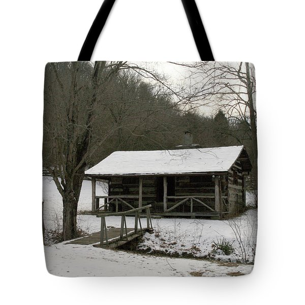 My Lil Cabin Home On The Hill In Winter Tote Bag