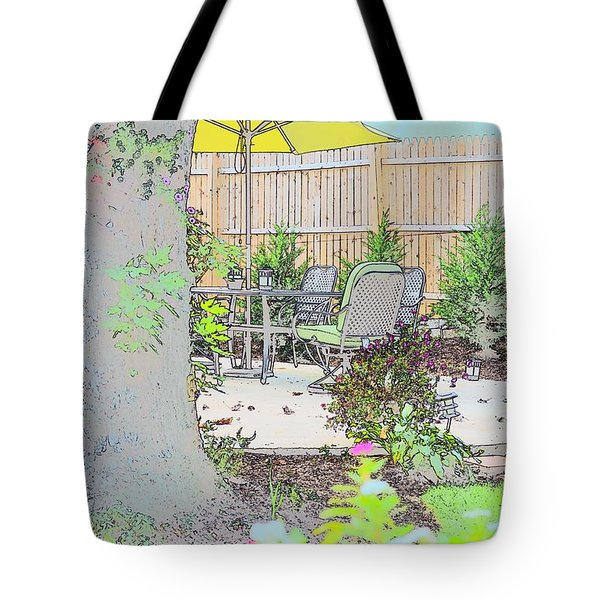 Tote Bag featuring the photograph My Patio by EDi by Darlene