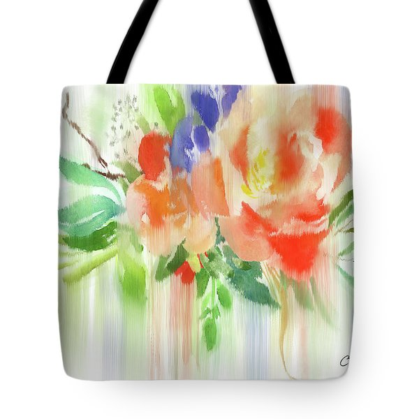 Tote Bag featuring the painting My Roses Gently Weep by Colleen Taylor