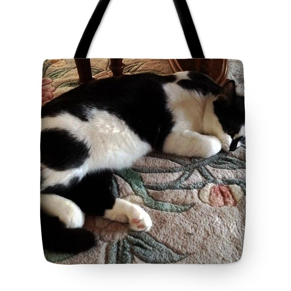 Tote Bag featuring the photograph My Sleeping Cat by Vicky Tarcau