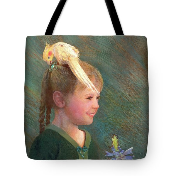 Tote Bag featuring the painting My Sparkly Trinket by Nancy Lee Moran