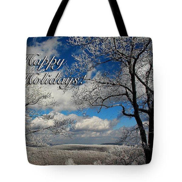 My Sunday Happy Holidays Card Tote Bag by Lois Bryan