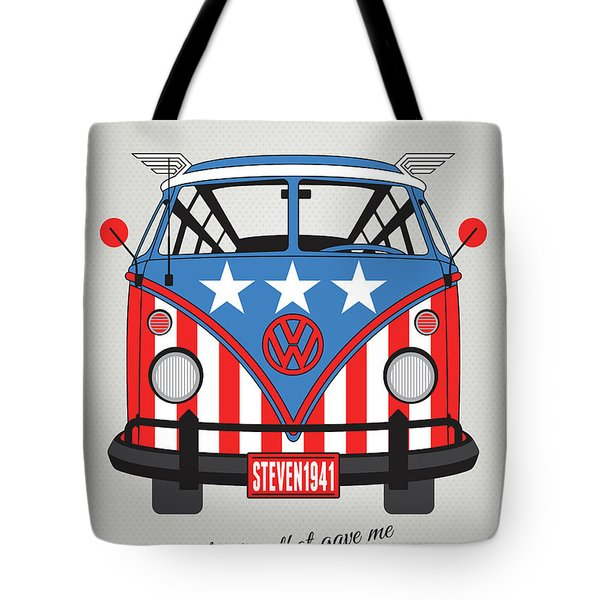 My Superhero-vw-t1-cap America Tote Bag