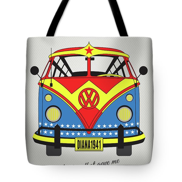 My Superhero-vw-t1-supermanmy Superhero-vw-t1-wonder Woman Tote Bag