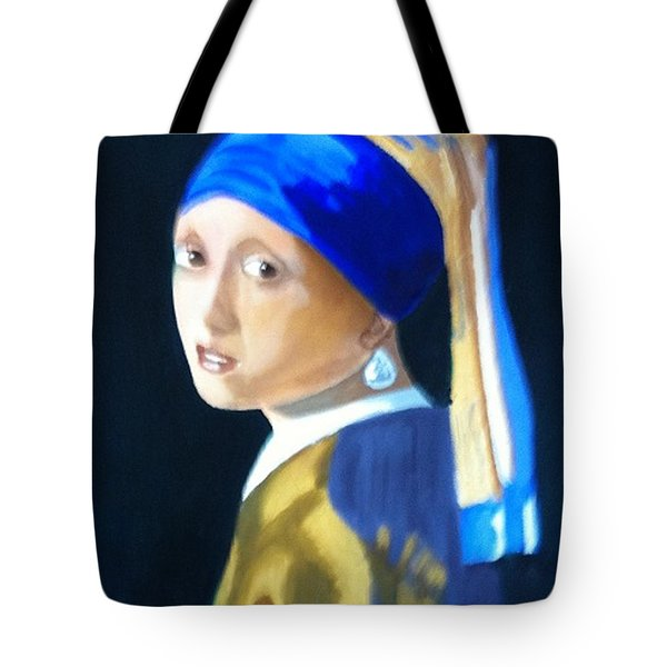 My Version-girl With The Pearl Earring Tote Bag by Rod Jellison