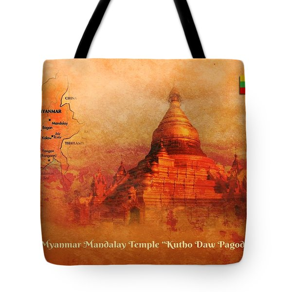 Tote Bag featuring the digital art Myanmar Temple Kutho Daw Pagoda by John Wills