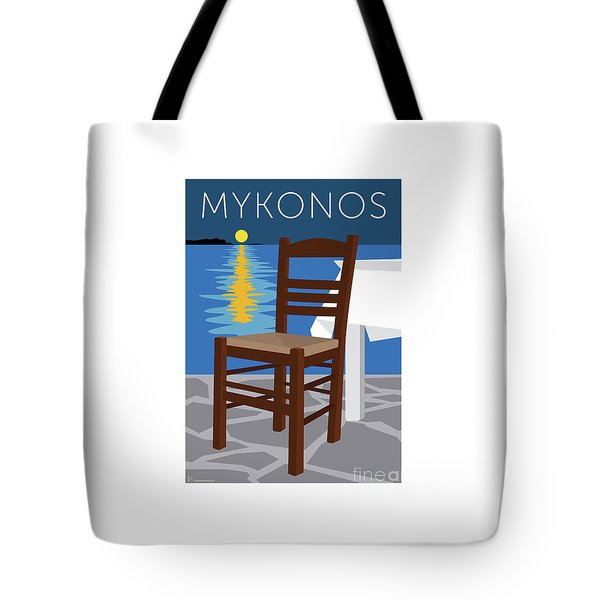 Tote Bag featuring the digital art Mykonos Empty Chair - Blue by Sam Brennan