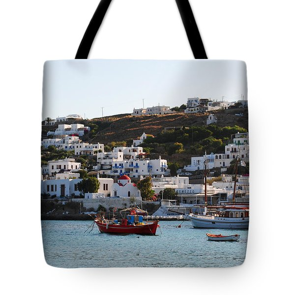 Mykonos Fishing Boats Tote Bag