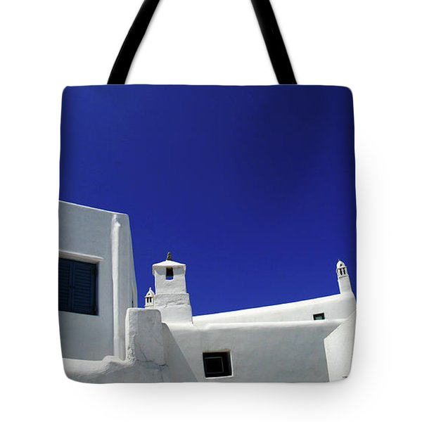Mykonos Greece Clean Line Architecture Tote Bag by Bob Christopher