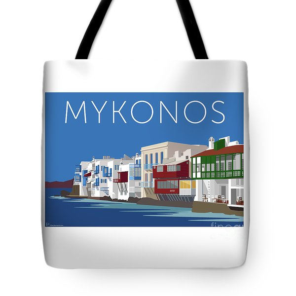 Tote Bag featuring the digital art Mykonos Little Venice - Blue by Sam Brennan