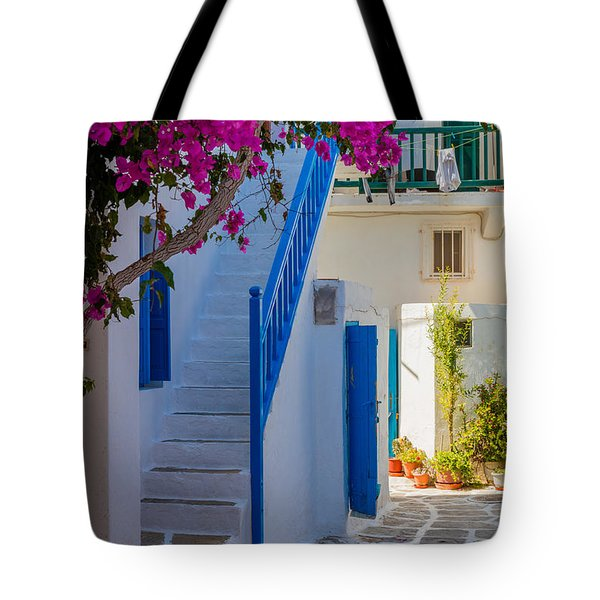Mykonos Staircase Tote Bag