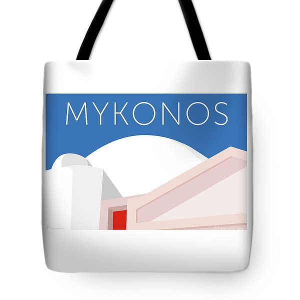 Tote Bag featuring the digital art Mykonos Walls - Blue by Sam Brennan