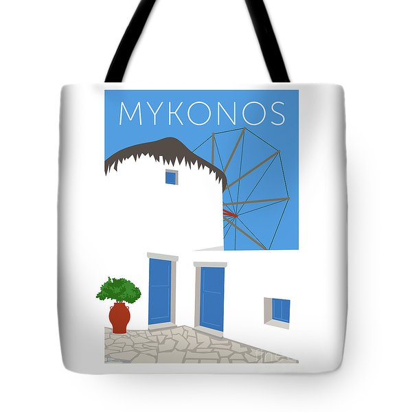 Tote Bag featuring the digital art Mykonos Windmill - Blue by Sam Brennan