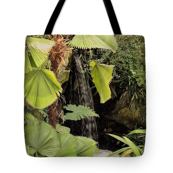 Tote Bag featuring the photograph Myriad Botanical Gardens Waterfall by Sheila Brown