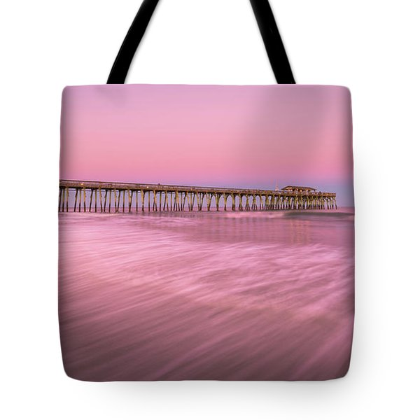 Tote Bag featuring the photograph Myrtle Beach Fishing Pier At Sunset Panorama by Ranjay Mitra