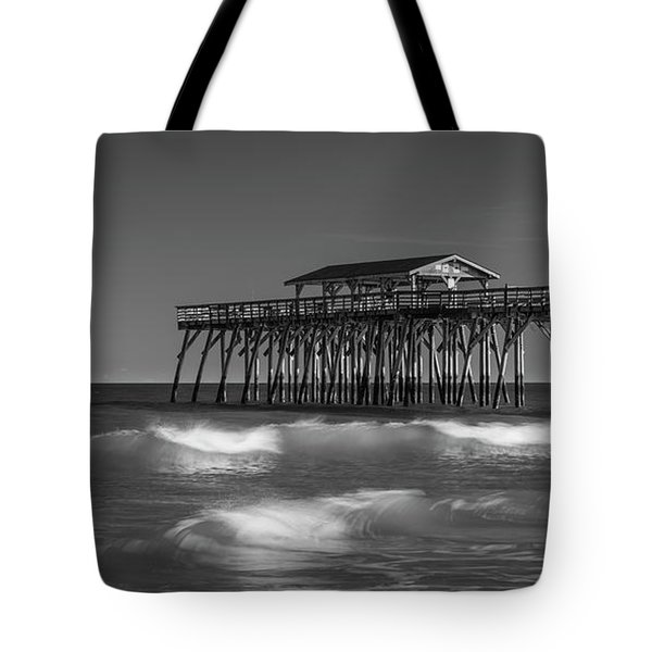 Tote Bag featuring the photograph Myrtle Beach Pier Panorama In Black And White by Ranjay Mitra