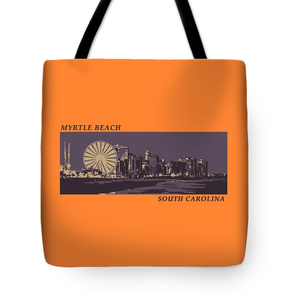 Tote Bag featuring the digital art Myrtle Beach, Sc Skyline by Jennifer Hotai